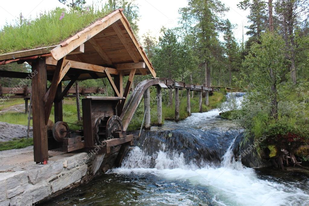 Water-wheel in board sawmill in Norway.