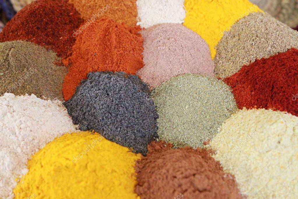 Mix of different colourful spices.