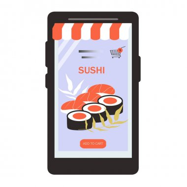 Vector illustration of a sushi, rolls on the smartphone screen. sushi japanese asian food ordering, fast sushi delivery. flat illustration for website and applications icon