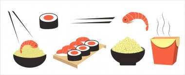 Vector illustration of a set of Asian cuisine dishes, sushi, rolls, wok, rice, noodles. Chinese, Japanese cuisine. food delivery, menu. flat illustration for sites. applications, magazines icon