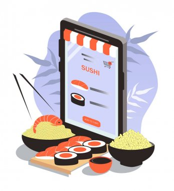 Vector illustration of a sushi, rolls on the smartphone screen. sushi set, wok, rice. japanese asian food ordering, fast sushi delivery. flat illustration for website and applications icon
