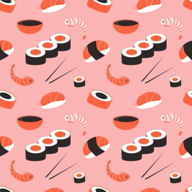 Cute seamless pattern with sushi, rolls and shrimps on a pink background. Japanese kitchen. kawaii background. pattern for printing on fabric, wrapping paper, for websites and applications icon