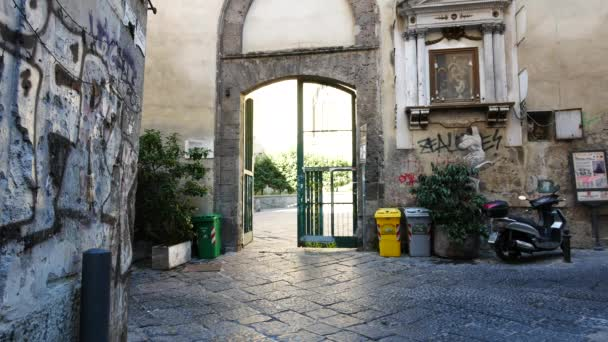 Naples, Italy, the lateral entrance  of the Saint Chiara religious complex