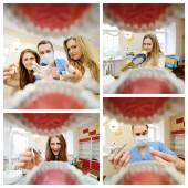 Photo view from a dentist mouth. Students dentists practice in dentist