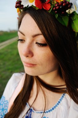 a tear on her cheek