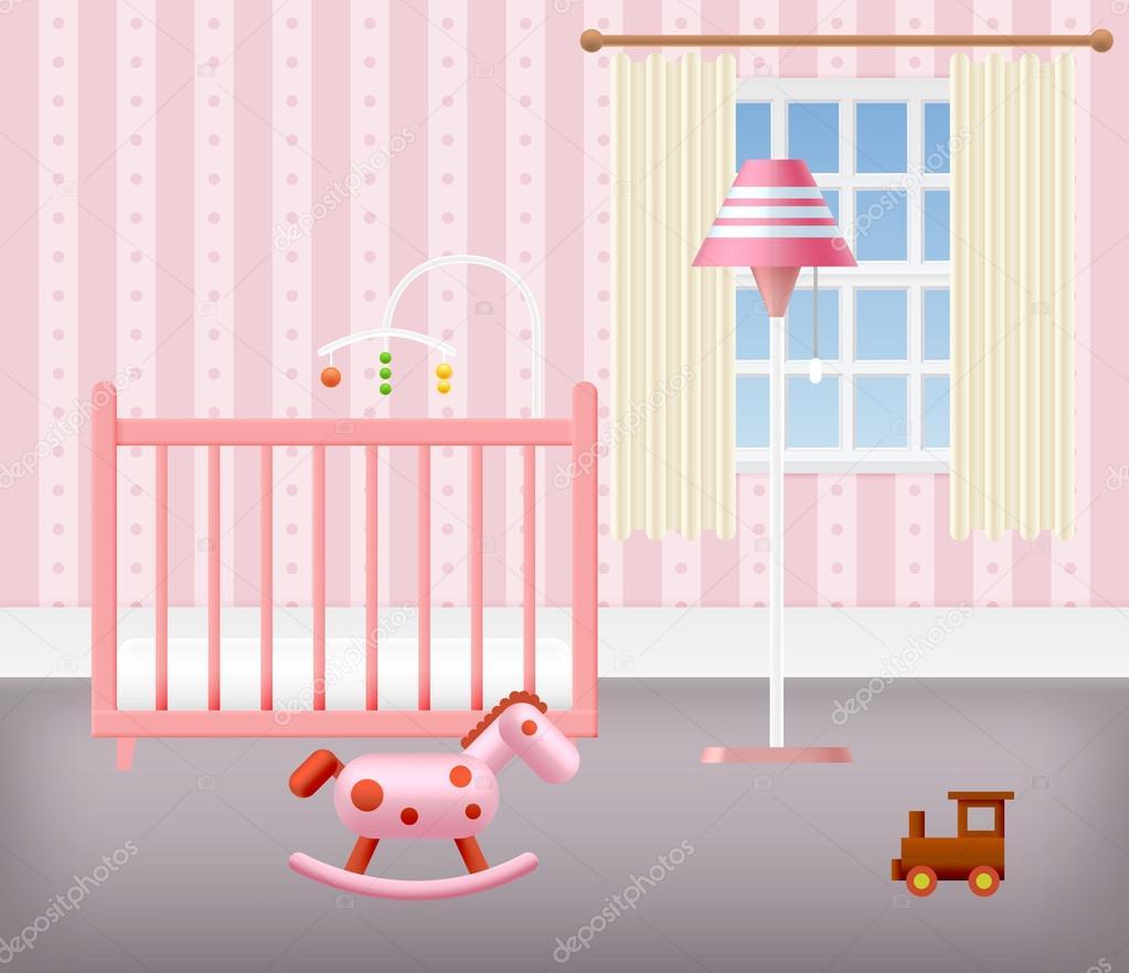 Habitación de bebé para niña con muebles — Vector de stock © ober ...