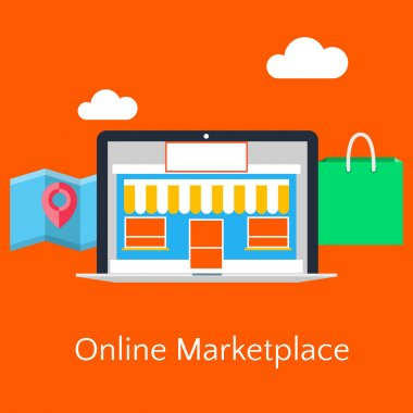 Abstract flat illustration of online marketplace concept