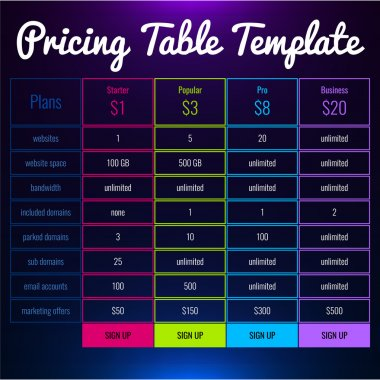 Pricing Table For  Website