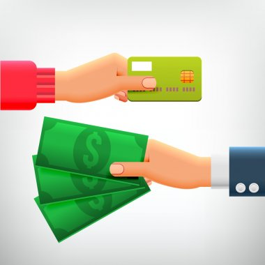 Hand with Credit Card and Cash