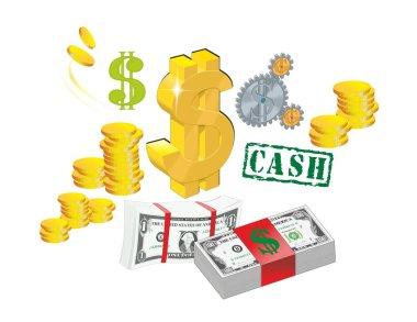 Money, bucks, bill, bundle of money, dollars, gold, gold coins, gold bullion, a bundle of money, bank notes, a symbol of money, ATM, greens, cabbage, American money, 100 Dolar, 100 Dolar