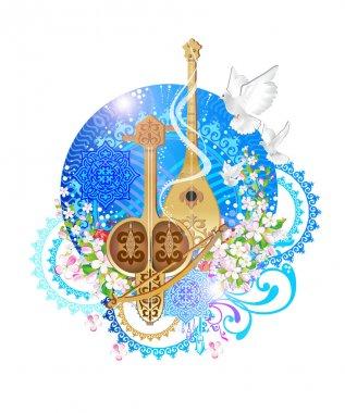 Dombra, kobyz, musical instrument, eastern tool Kazakh song Kazakh wedding, the music of the East, the Kazakh instrumental