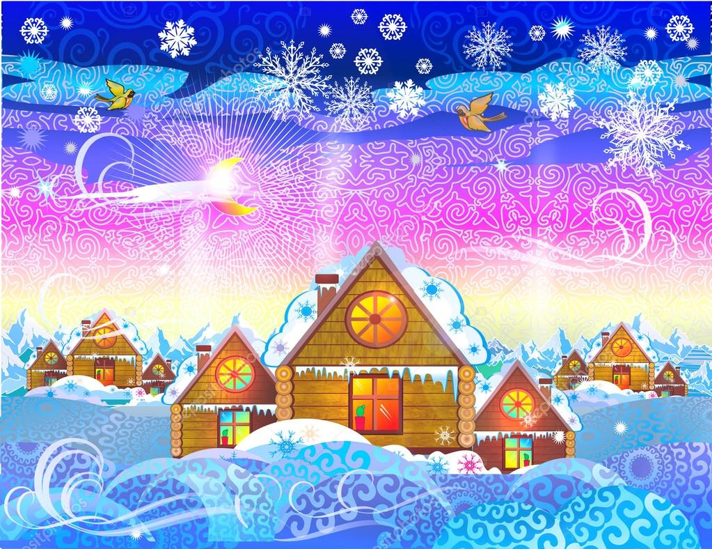depositphotos 88476998 stock illustration christmas village cozy houses on