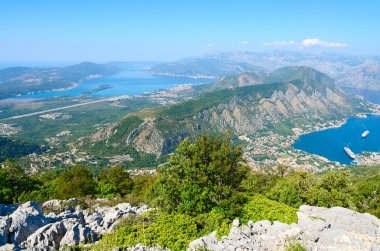 Beautiful view from above on Kotor and Tivat Bay, Montenegro