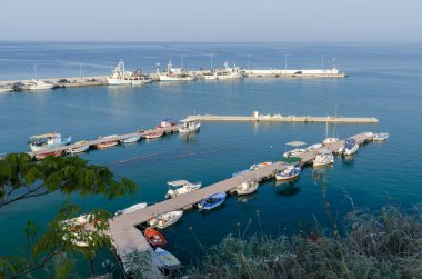 Greece, view of the pier with fishing boats