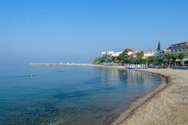 Greece, Nea Kallikratia, morning view from pier on beach