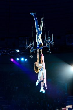 Tours of the Moscow Circus on Ice. Trapeze artists