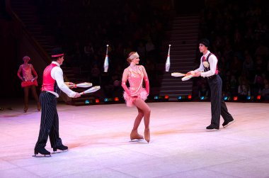 Moscow Circus on Ice on tour. Performance of jugglers