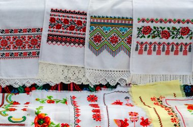Belarusian towels with embroidered traditional ornament