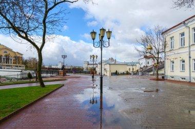 Belarus, Vitebsk. View of Pushkin bridge and Holy Spirit monastery