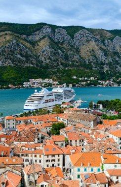 Top view of the Old town and cruise ship in the Bay of Kotor, Montenegro
