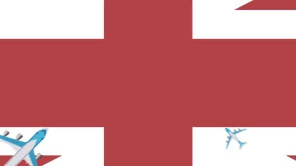 Britská vlajka a letadlo. Animace letadel vznášejících se nad vlajkou Velké Británie. Koncepce letů v tuzemsku i v zahraničí.