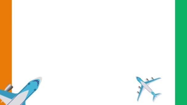 Vlajka cte d ivoire a rovin. Animace letadel letících nad vlajkou slonovinového pobřeží. koncept letů v tuzemsku i v zahraničí.