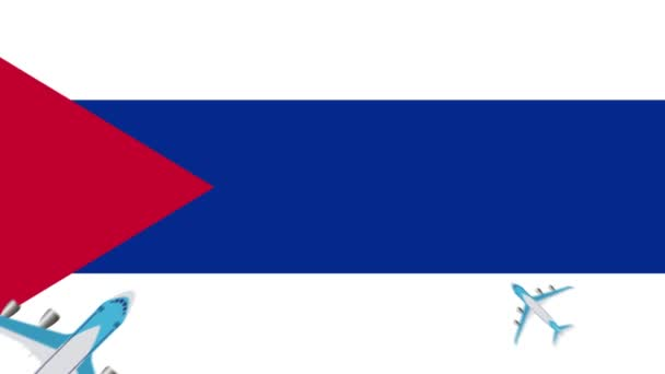 Cubas flag and planes. Animation of planes flying over the flag of Cuba. the concept of flights within the country and abroad.