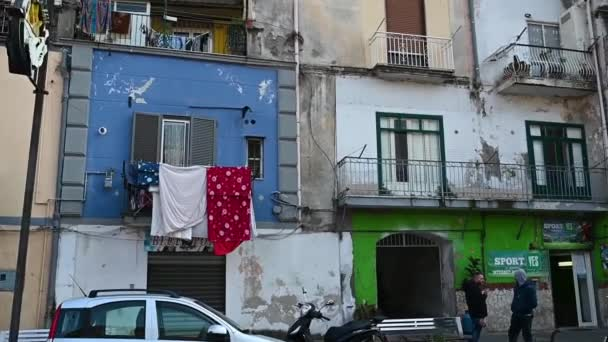 03,27,2021 Italy Castellammare di Stabia on the street on the balconies clothes for drying are hung city view