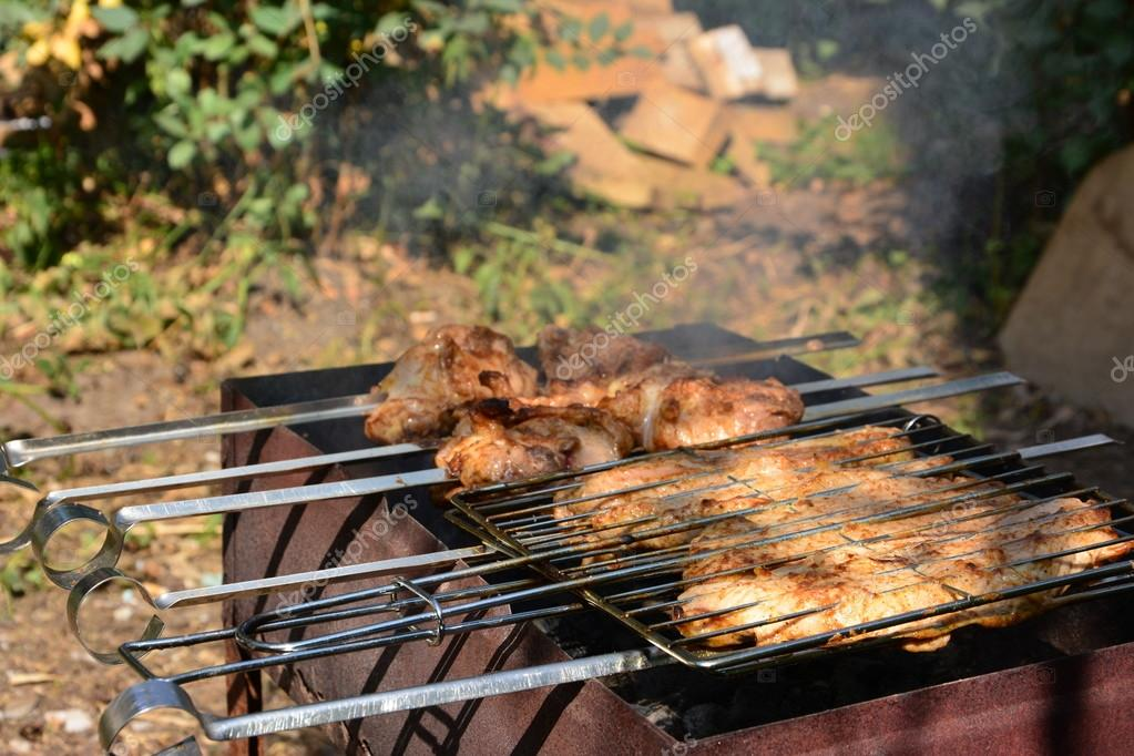 Preparation, Cooking kebabs on charcoal outdoor