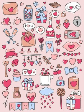 Pack of love stickers, fashion patches, cute colorful badges, with hearts. Hand drawn hearts and words in doodle style. Love concept. Freehand drawing. Valentines day decoration elements. icon