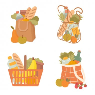 Shopping hand drawn bag flat vector illustrations set. Grocery purchase,  package  with products.  Water bottle, bread, fruits, vegetables, apples. Natural food, organic fruits and vegetable. icon