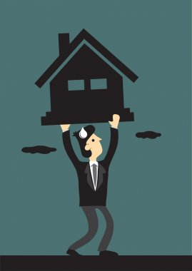 Under Financial Pressure of Mortgage Loan Vector Illustration