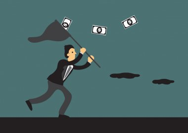 Businessman Running After Money Vector Cartoon Illustration