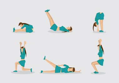 Woman Doing Work Out Routine Vector Character Illustration