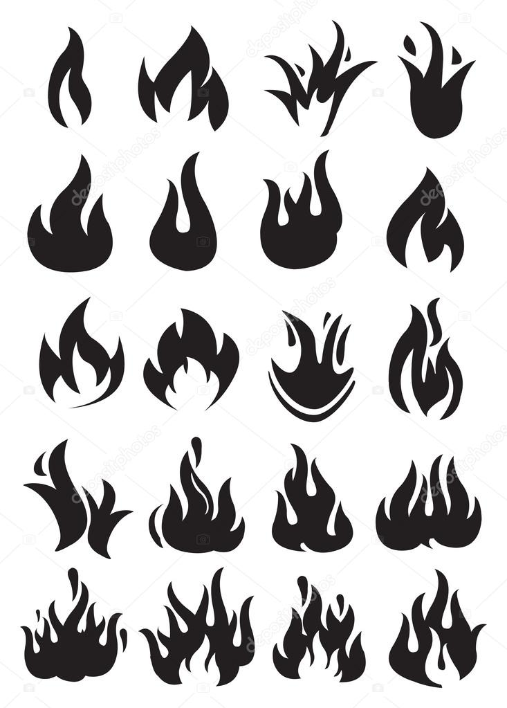Burning Fire and Flame Vector Isolated on White