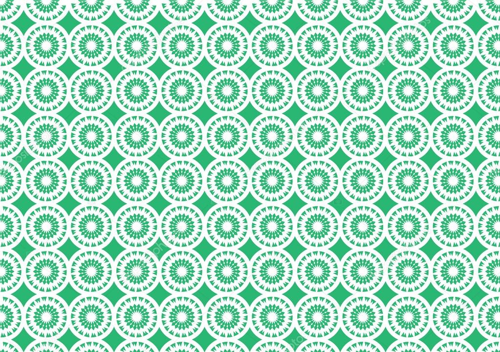 Green Kaleidoscope Circular Pattern Seamless Wallpaper