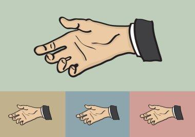 Hand Reaching for Handshake Vector Illustration