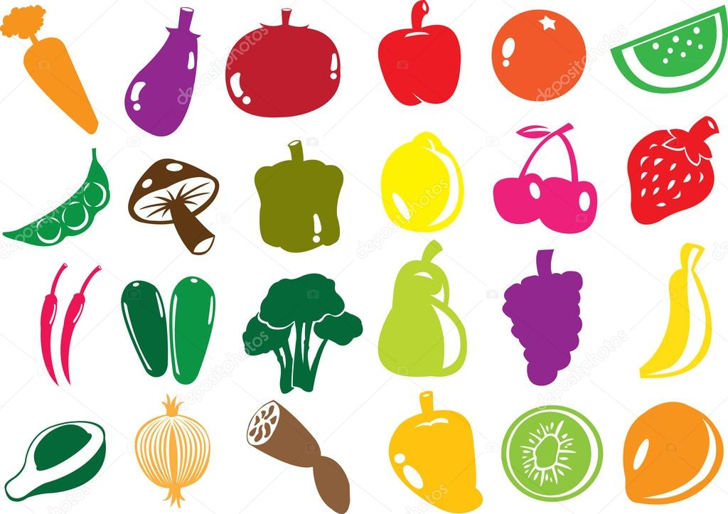 Vector fruit and vegetables icons.