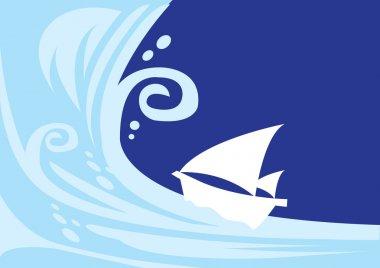Tsunami wave with sailing boat