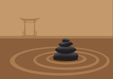 Stacked Stones in Sand Garden in Front of Traditional Japanese G