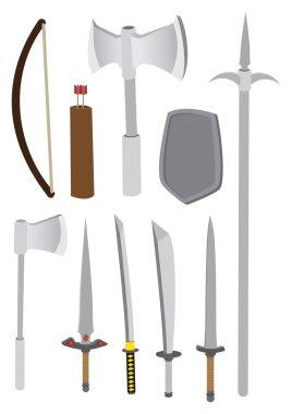 Premodern Combat Weapons Vector Illustration