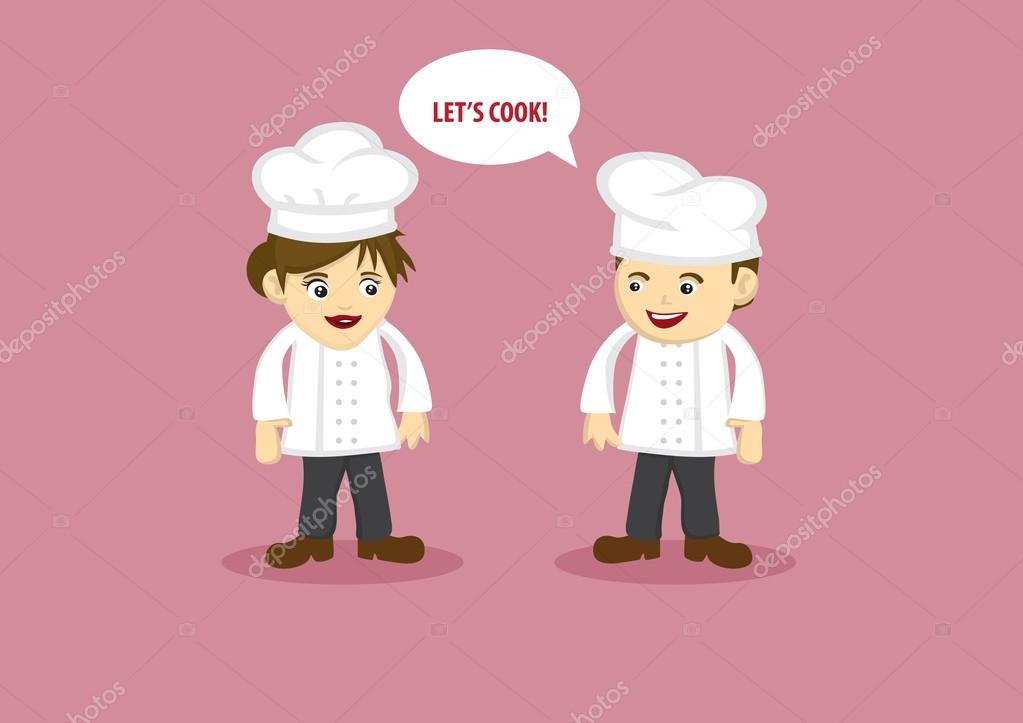 Happy Chef And Kitchen Assistant Vector Cartoon Characters Stock