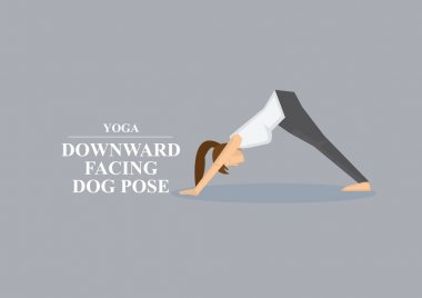Yoga Asana Downward Facing Dog Pose Vector Illustration
