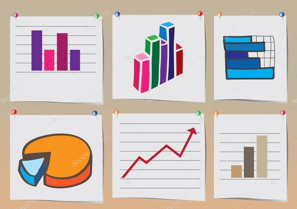 stock charts and business graph printout pinned on wall vector