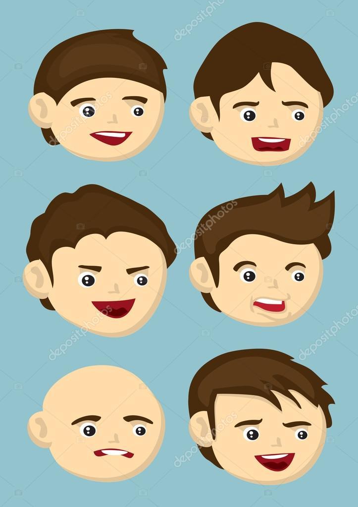 Cartoon Kopfe Mit Verschiedenen Gesichtsausdrucken Und Frisur