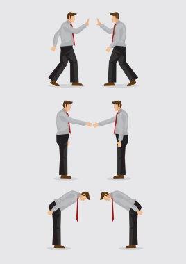 Three Ways of Greeting Gestures Vector Illustration