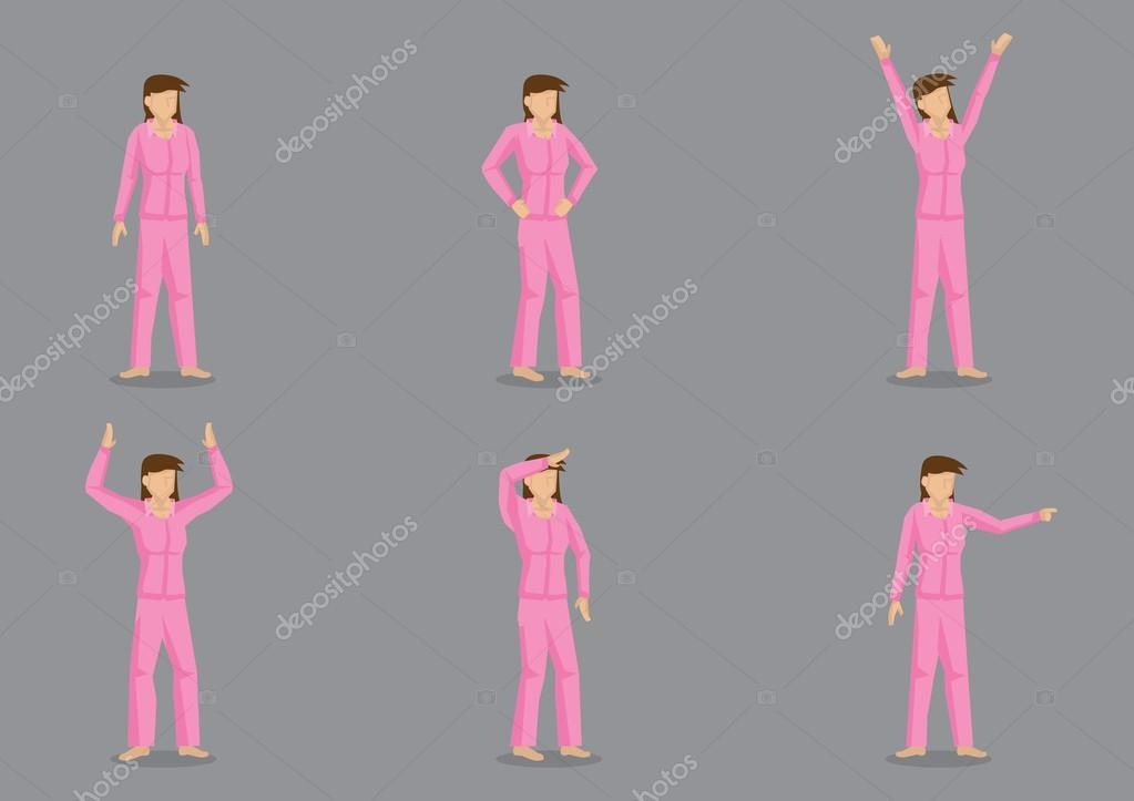 79dc6245c694 Conjunto de seis ilustraciones vectoriales de personaje de dibujos animados  de una niña de cabello castaño, vistiendo pijamas rosados en diferentes  posturas ...