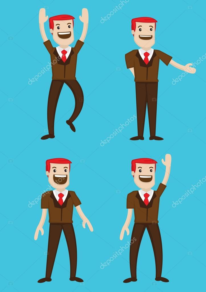 幸せな漫画の男キャラ身体言語ベクトル イラスト ストックベクター