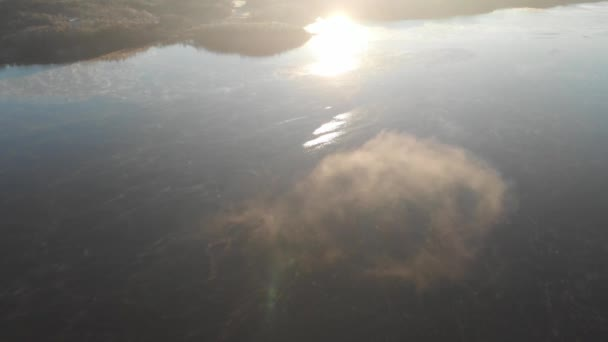 Peaceful Lake, Soft Cloud and Sun Reflection, Aerial Horizon Reveal