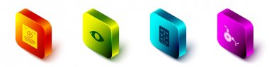 Set Isometric Clinical record, Blindness, Pills blister pack and Wheelchair icon. Vector. icon